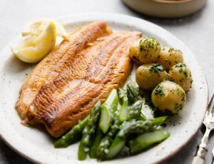 Seared sea trout with maple mustard mayonnaise