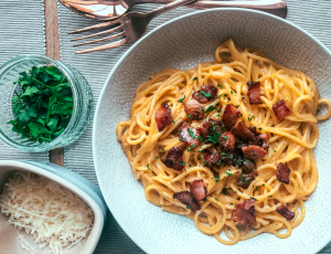 Skinny Jeans and Baked Beans' classic carbonara with crispy maple bacon