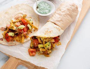 Maple pork shawarma wraps with tomato salad