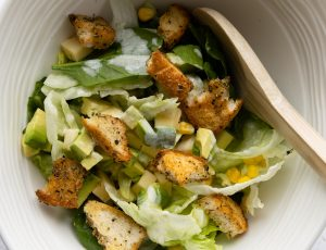 Green Salad with Maple Croutons and Yoghurt Dressing