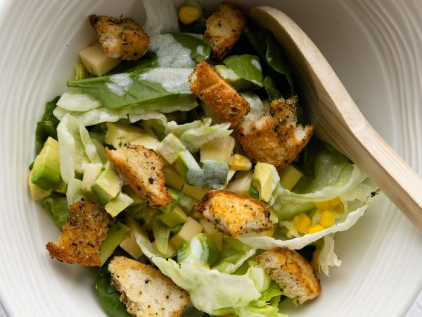Green salad with maple croutons