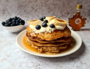 At Dad's Table's Banana Wholegrain Pancakes with Maple, Yoghurt and Cinnamon