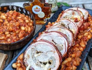 The Smokin Elk's Bacon Wrapped Stuffed Pork Fillet with a Maple BBQ Sauce Glaze and Maple BBQ Beans