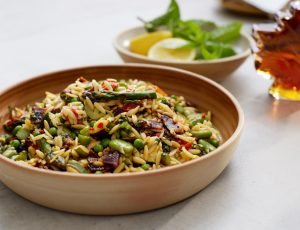 Rosie Birkett's Maple and Chilli Candied Bacon with Summer Vegetable Orzo