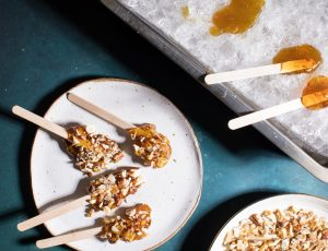 Maple Taffy with Chopped Nuts