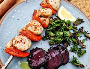 Country Wood Smoke's maple and chilli glazed Scallops, with beetroot and kale